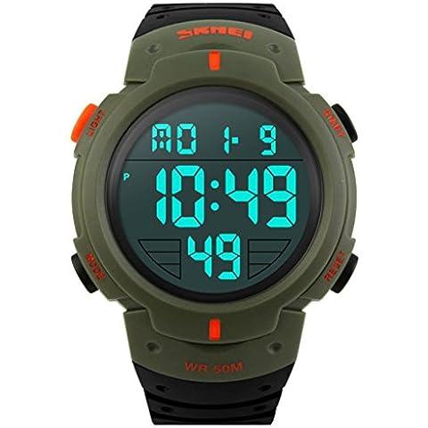 SKMEI 1068 unisex Uomini Orologi sportivi Maschio Digital Outdoor orologio da polso resistente all'acqua (Army Green)