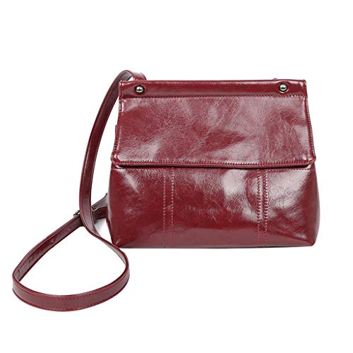 DOLDOA Damentasche Damenmode Flip Pure-Color Cover Retro Umhängetasche Geldbörse Flap Bag (Rot) -
