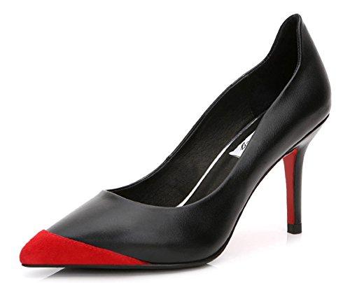 Aisun Damen Business Spitze Zehe Lacklederoptik Rot Sohle Pumps Rot