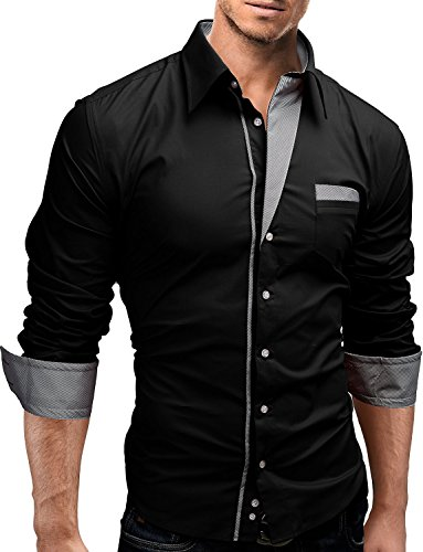 Lyon Becker - Chemise casual - Manches Longues - Homme Black-PS6