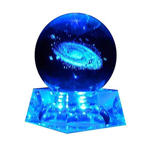 Galaxy Kristallkugel LED Nachtlicht 3D Laser Sonnensystem Glaskugel mit Beleuchtung Base Dekorativen Planeten Miniaturen Büro Dekoration Ornament Geburtstagsgeschenk
