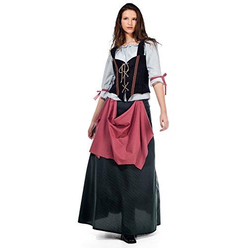 Wirtin Kostüm Frau (Mittelalter Wirtin Kostüm Damen grün rot Historisches Gewand für Feste u Karneval -)
