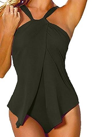 Damen Frauen Badeanzug One Piece Rock Shorts Neckholder Einteilige Bademode Tankini Army Grün 3XL