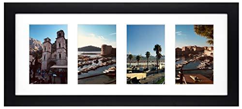 Golden State Art, Display (4) 4x 6Bilder, weiß Foto Holz Collage Rahmen mit Weiß Matte & Echtglas, holz, schwarz, 10 x 15 cm (Bild-rahmen Matte Mit)