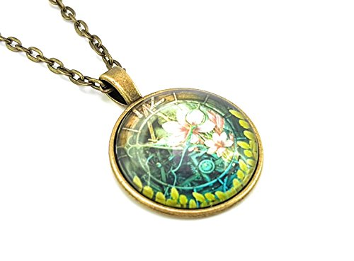 Stechschmuck Halskette mit Anhänger Amulett Madaillon Talisman Uhr Uhrwerk Cabochon Blumen Flowers Hippie Steampunk Bronze Farben Antik Vintag Oldschool Damen 27mm Nickelfrei