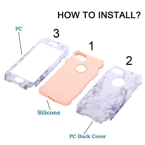 3 in 1 Vollständige Schutzhülle für iPhone 7 (4,7 Zoll), Cuitan Marmor Muster PC + Silikon 360° Komplettschutz Vorder- und Rückseiten Schutz Schale Stoßfest Vollschutz Hülle Case Cover Handytasche Han Pink