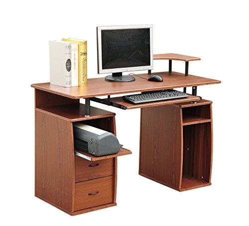 Outsunny scrivania tavolo per pc computer in legno con for Tavolo cucina 120x60