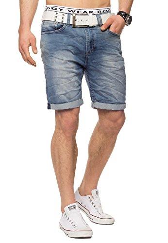 Baumwolle Crinkle-shorts (Herren Jeans-Shorts · Casual Fit · Kurze Bermuda · Denim-Look · Knitter Falten · Crinkle · Used · Stretch Short · Freizeit · Walkshort · leichte Waschung · Stone Washed · H1432 von Urban Surface)