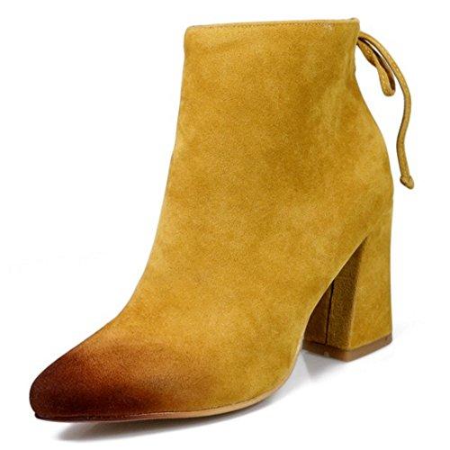 Senhoras Coolcept Saltos Bloco Camurça Clássicos E Sapatos De Absatzen Botas De Tornozelo Toe Pontas Amarelas