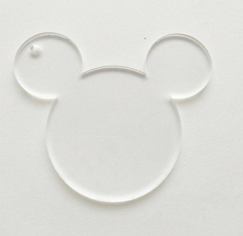 100/viel blanko klar Acryl Maus Kopf Charms, Plexiglas Laser geschnitten blanko Schlüsselanhänger Halskette DIY Zubehör 1/20,3cm Stärke 6,4 cm farblos