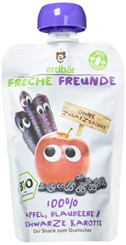 Freche Freunde Bio Quetschie 100% Apfel, Blaubeere & Schwarze Karotte 6-er Pack (6 x 100ml)