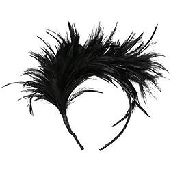 Lurrose Diadema de plumas Fascinator Banda para el cabello Tocado para la cabeza Tocado de disfraces para el Festival de fiestas elegantes (Negro)