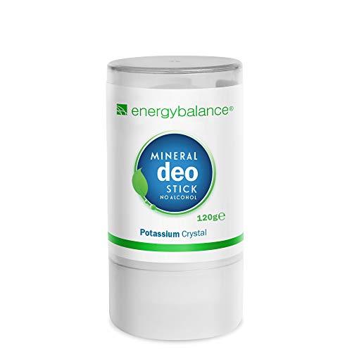EnergyBalance Deo-Stick Kristall 120g ohne Aluminium (Aluminiumchloride) - Für Herren und Damen - Geruchsneutral - Deodorant - Markenqualität aus der Schweiz -