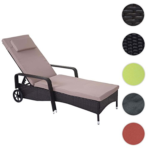 Mendler Poly-Rattan Sonnenliege Carrara, Relaxliege Gartenliege Liege, Alu ~ Braun, Kissen Beige