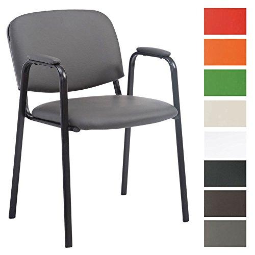 CLP Besucherstuhl KEN PRO mit Metallgestell und Kunstlederbezug   Konferenzstuhl mit robustem Metallgestell und gepolsterter Rückenlehne   In verschiedenen Farben erhältlich Grau