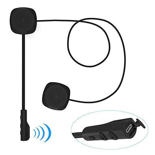 TechCode Motorrad Sturzhelm Kopfhörer, Universal Headset für Motorradhelme Bluetooth 5,0 Intercom Lautsprecher Kopfhörer Kommunikation Stereo Lautsprecher Freihändige Mic Motorcycle Zubehör Intercom Mic
