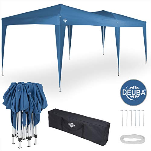 Deuba® Pavillon Capri 3x6m | wasserdicht Pop-Up inkl. Tasche UV-Schutz 50+ | Faltpavillon Gartenzelt Partyzelt Blau 6 X Capri