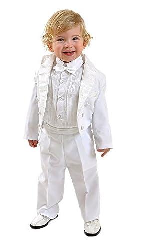 5 teilig Kinderanzug Kommunionsanzug Taufanzug Frack Angelo (128/134, Weiß)