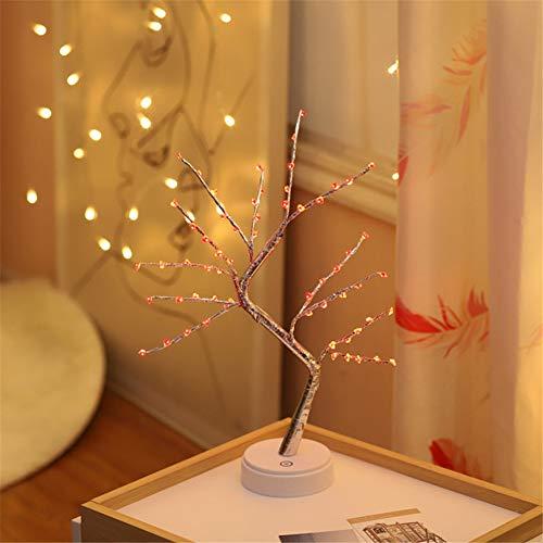 HMLIGHT 60 LED USB-Star/Schnee/Blumen Baum-Nachtlicht Kupferdraht Tischlampe für Partyraum Ferien Fee Dekoration Licht,Redheart