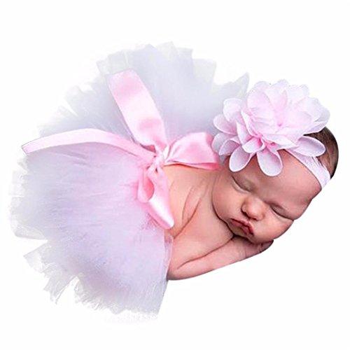 Babykleidung FORH Neugeborenes Mädchen Jungen Tüllrock Ballet Tutu Rock Kinder Festliche Pettiskirt Ballerina Petticoat + Cute Stirnbänder Foto Fotografie Kostüm (Rosa)