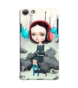 Omnam Girl Listening To Music Printed Designer Back Cover Case For Micromax Selfie 3 Q348