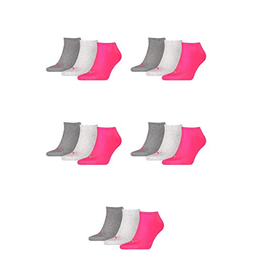 15 pair Puma Sneaker Invisible Socks Unisex Mens & Ladies 656 - middle grey mélange/pink