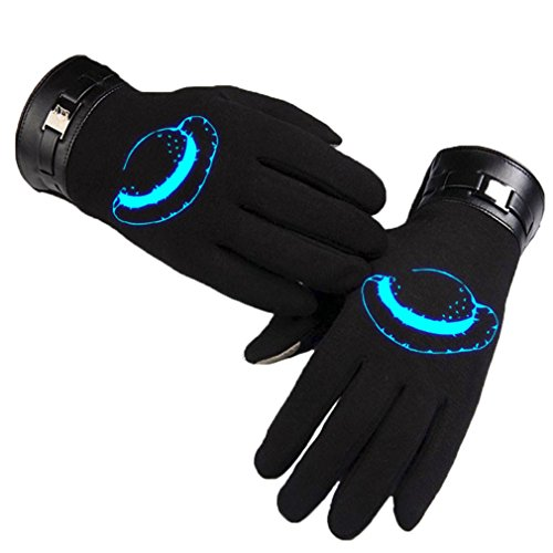 Bromeo One Piece Anime Hiver Chaud Lumineux Écran Tactile Gants Gloves Mittens Noir 3