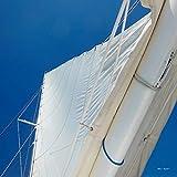 Glücksvilla Weißes Segel vor Himmel - Exklusives Künstlermotiv, XXL Bild/Wandbild, Größe: 120 x 120 cm Quadrat, Digital-Druck auf Acrylglas 5 mm