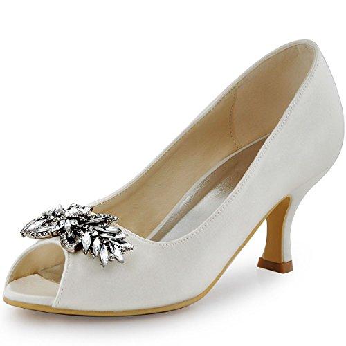 ElegantPark HP1540 Escarpins Femme Satin Diamant Feuille Bout ouvert Pompes Chaussures de Soiree Mariage Ivoire