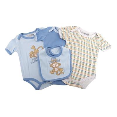 Set de regalo de 4 piezas para recién nacido, bodies y babero Diseño Little Monkey niños (Recién nacido/Azul)