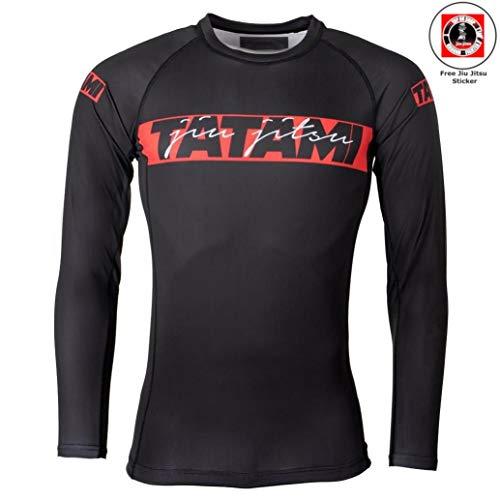 Tatami Rashguard Red Bar Schwarz - Langarm - Kompressions Shirt mit 4-Wege Stretch für Jiu Jitsu, Fitness, Grappling und MMA - Herren Rash Guard (L) -