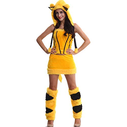 HaoLiao Cosplay Kostüm, Frauenrollenspiele Sexy Pikachu Spiel Uniformen Cosplay Kostüme mit Einem einzigartigen Original-Ring FXXK ()