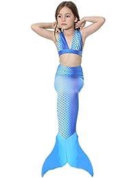 xiemushop Bikini 3PCS Traje de Baño Sirena para niñas Bañador Disfraz de Princesa Sirena Mermaid swimsuit