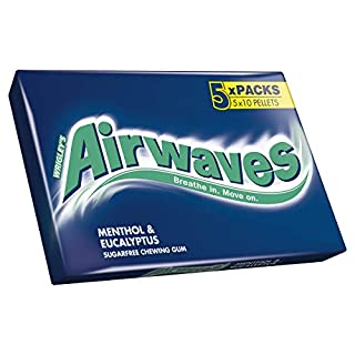 Airwaves Menthol And Eucalyptus Chewing Gum Multipack 5x10 Pieces