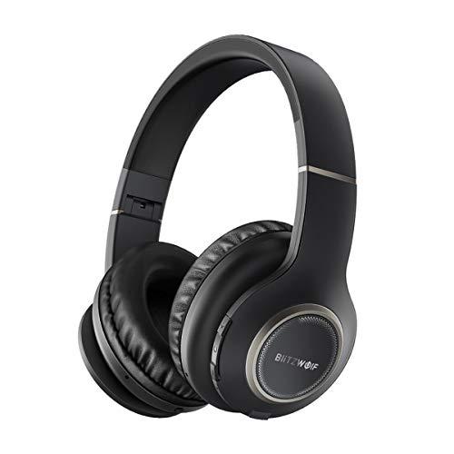 Bluetooth Kopfhörer Over-Ear,BlitzWolf Wireless Faltbarer Ohrhörer drahtlose Headset mit 20 Stunden Spielzeit, Hi-Fi Stereo und Physical Noise Cancelling für Smartphone TV PC Tablet (Schwarz) (Wireless Bluetooth Tv Kopfhörer)
