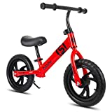 Bicicleta sin pedales Bici Bicicleta de Equilibrio con neumáticos neumáticos de 12 Pulgadas - Mini Metal Early Rider Push Bike, Negro/Azul/Rojo/Blanco/Amarillo (Color : Red)