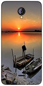 Snoogg Ship Sunset Designer Protective Back Case Cover For Micromax Unite 2 A106