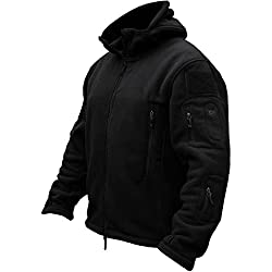 TACVASEN Chaqueta Militar Caliente para Hombre a Prueba de Viento Fleece Jacket Negro