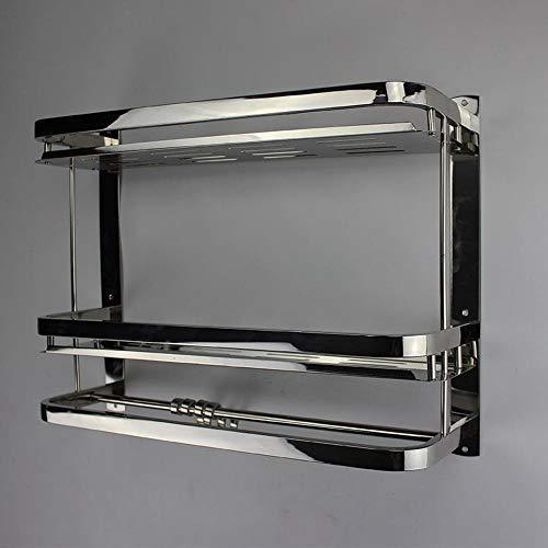 SKYyao Duschablage Edelstahl,Edelstahl Doppelschicht-Regal Toilette Lagerregal Bad Quad Rahmen mit Haken Verdickung Hebel -