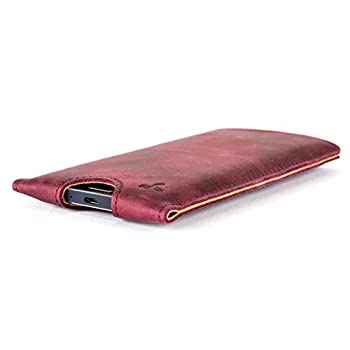Snakehive® Vintage Collection Samsung Galaxy A5 Pouch Case Cover In Nubuck Leather With Credit Card Note Slot (Plum) 4