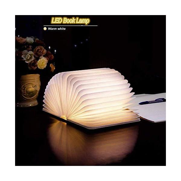 Lampada Libro USB Ricaricabile, Lampada a Forma di Libro, Luce LED di legno, Decorativi Lampada da Tavolo -1000mAh Mini… 2 spesavip