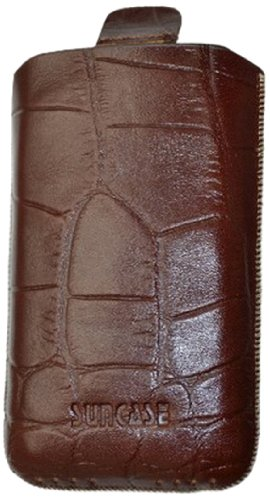 Suncase Étui en cuir avec languette d'extraction pour Apple iPhone 3G/3GS Marron imitation croco Marron croco