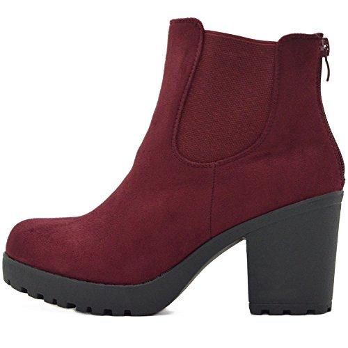 FLY 4 Chelsea Boots Plateau Stiefeletten in Vielen Farben und Mustern (37, Rot Samt S2)