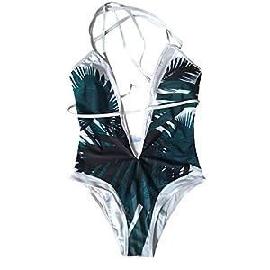 ☺HWTOP One Piece Strand Badeanzug Badebekleidung Monokini Frauen Drücken Oben Aufgefülltes Bikini Blatt Druck Bademode