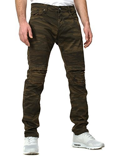 Redbridge Herren Jeans SOLDIER Slim Fit Schnitt Camouflage Destroyed Look camouflage W32/L32