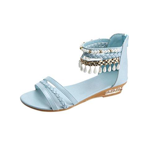 Vovotrade Été élégante Sandales Plateforme Chaussures Femme Dangling Perle Wedges Sandales Décontractées Bleu