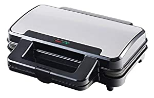 Venga! Sandwich Toaster, Extra Deep Fill Baking Plates, Baking Light, Non-Stick Coating, Cool-Touch, 900 W, Black/Stainless Steel, VG SM 3007 BS