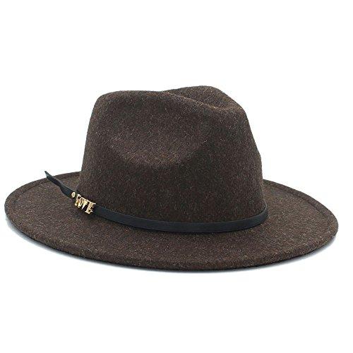 S*women's hat Schatten 100% Wolle Top Hut Auturmn Frauen männer Breiter Krempe Liebesbrief Fedora Hut Für Elegante Laday Gentleman Panama Sombrero Stilvoll (Farbe : 4, Größe : 57-58 cm) - Sombrero Panama