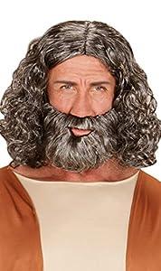 WIDMANN wdm04947?Disfraz para adulto peluca y barba Biblica (caja, gris, talla única