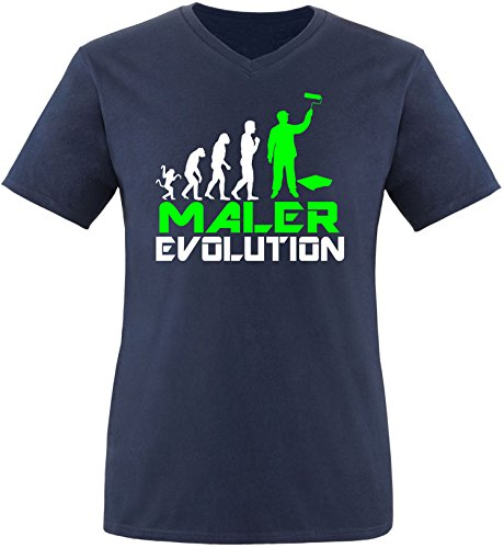 EZYshirt® Maler Evolution Herren V-Neck T-Shirt Navy/Weiss/Neongr